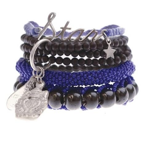 A Beautiful Story blauw zwart setje armbanden