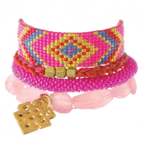 a Beautiful Story orange pink bracelets