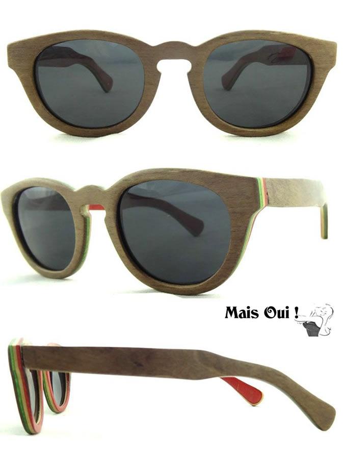 houten zonnebril vintage bruin rood laagjes