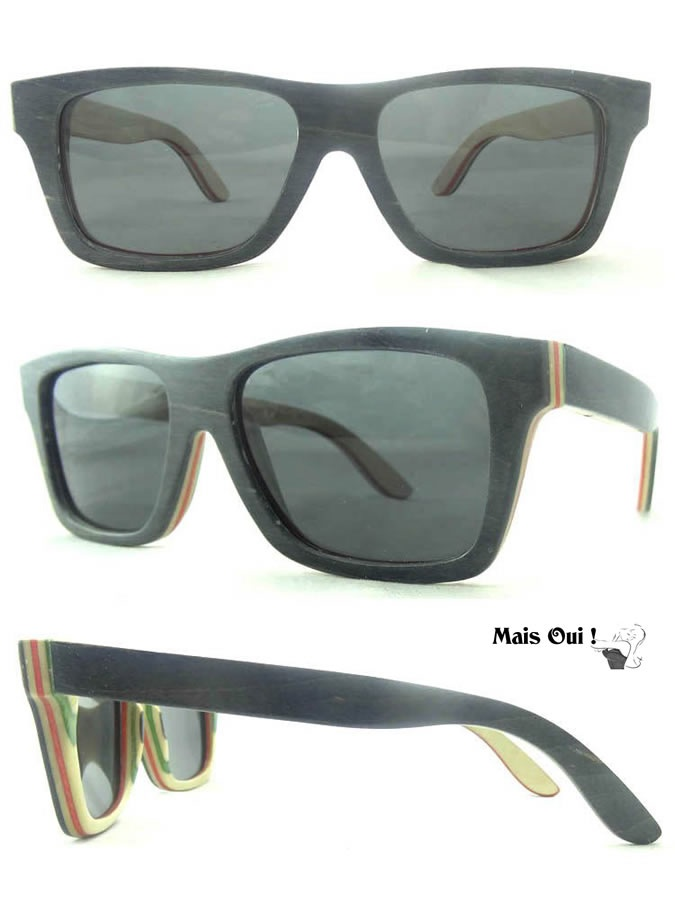 houten zonnebril uit laagjes