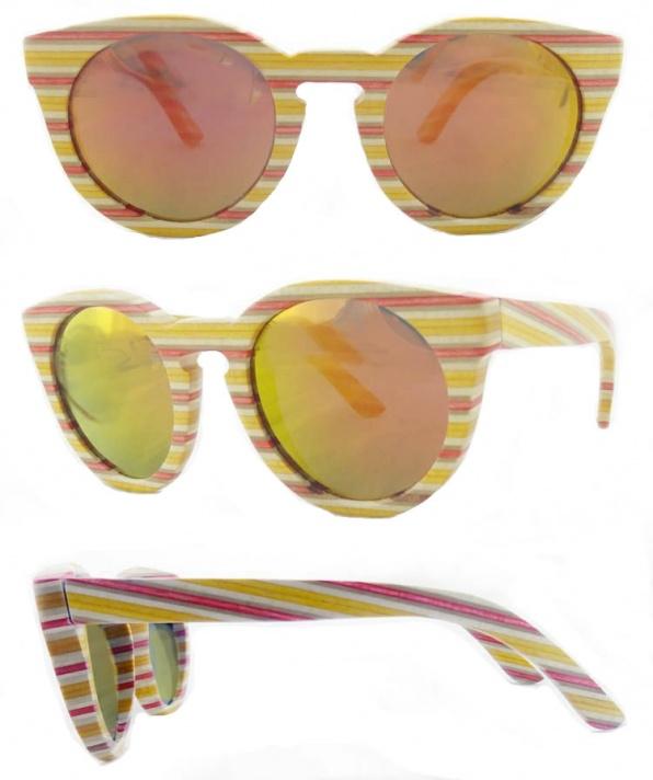 houten zonnebril gestreept van Mais Oui !