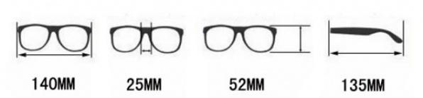 maattabel voor houten zonnebril
