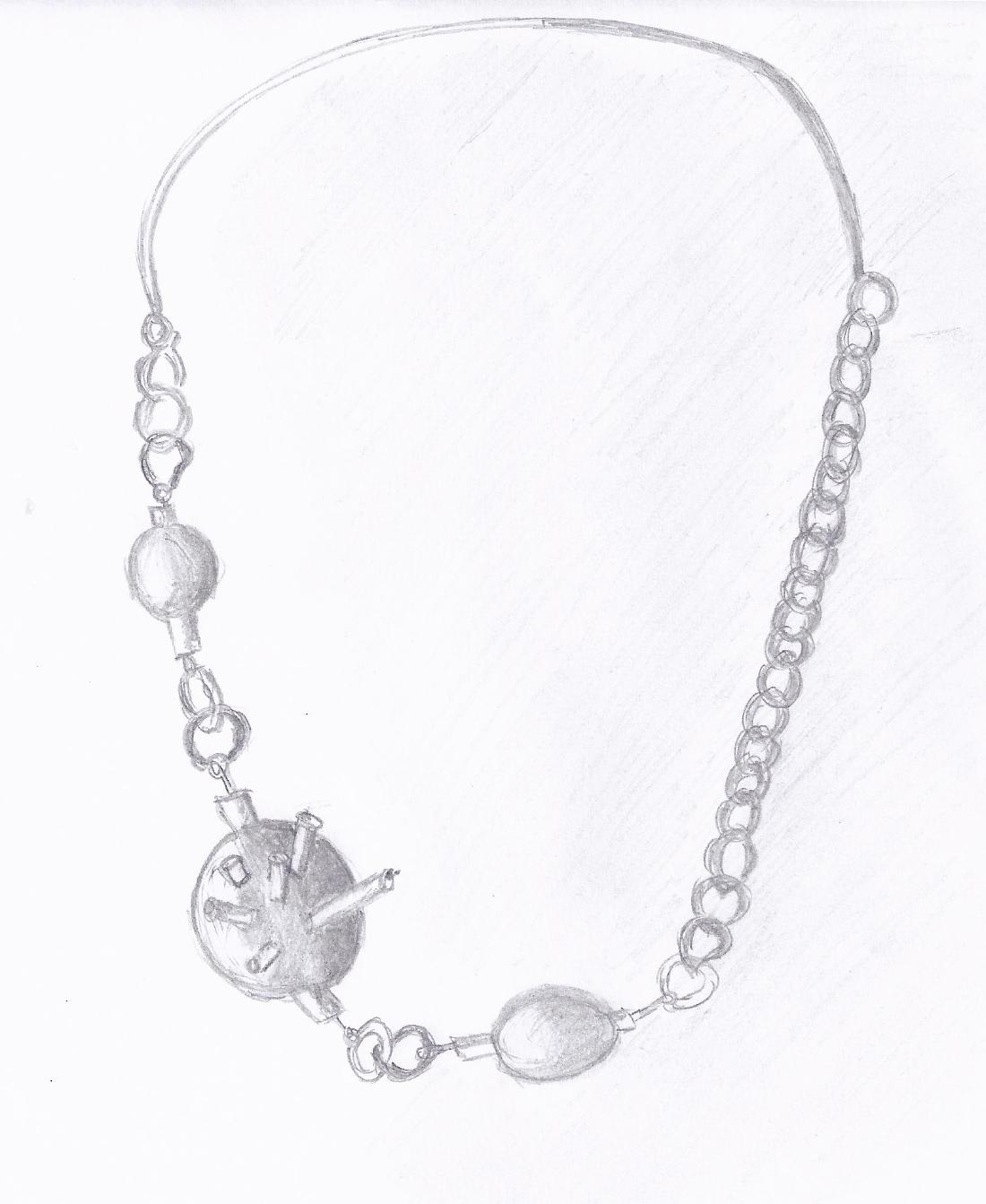 Silver and Copper necklace drawing