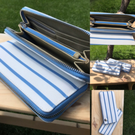 Portemonnee blauw/wit gestreept