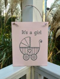 """Paneel kinderwagen """" it's a girl"""""""