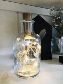 Sfeervol flesje met verlichting I witte hartjes