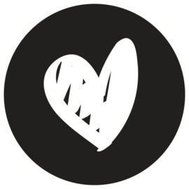 Muurcirkel hart 20 cm zwart
