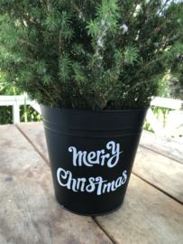 Zinken emmer I mat zwart I Merry Christmas