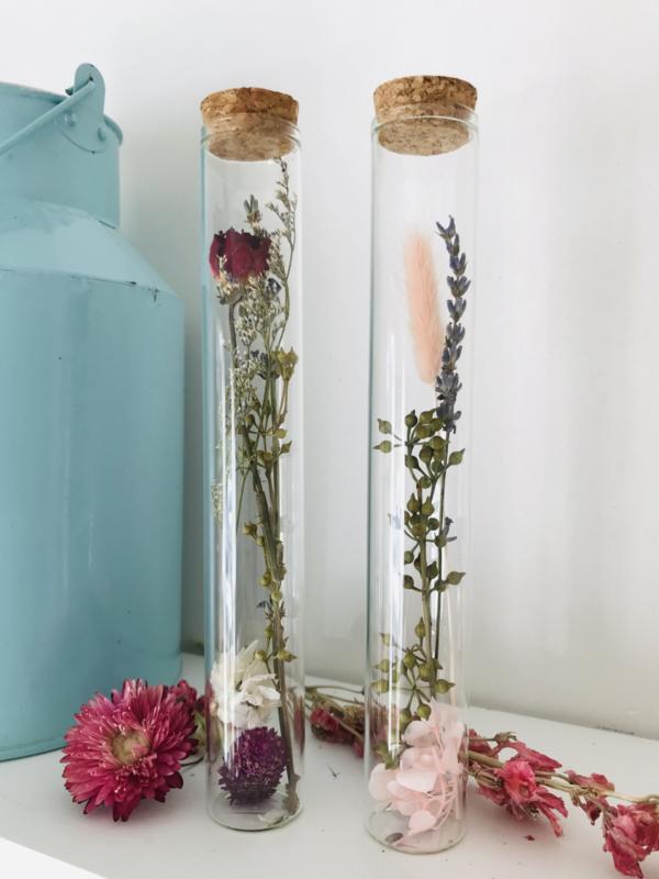 Tube met droogbloemen rood/paars