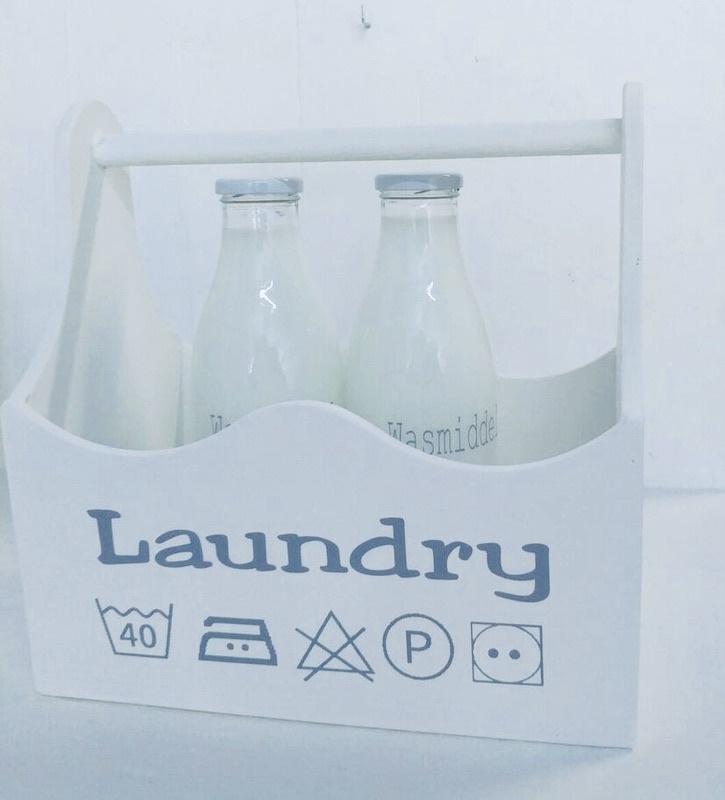 Laundry houten bak xl wassymbolen