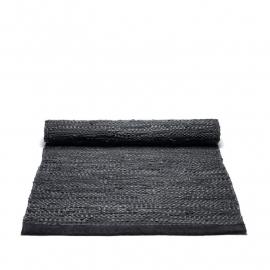 Rug Solid Lederen Vloerkleed Black / div. afmetingen