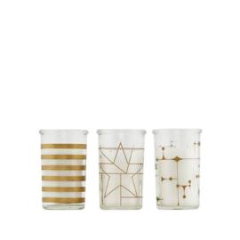 House Doctor set van 3 kaarsen in glas Gold