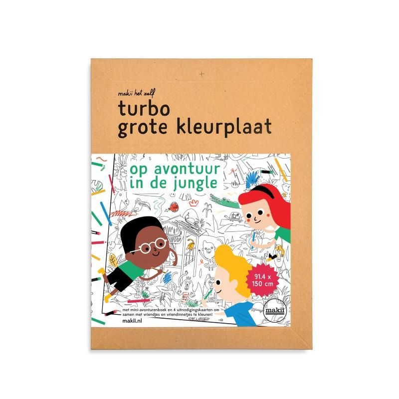 Makii Turbo Grote Kleurplaat 'Jungle'