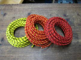 Gevlochten bougie kabel met koper kern per meter  , diverse kleuren