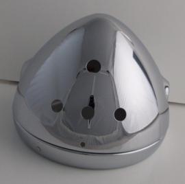 Koplamphuis met chromenrand , 3 gaten voor lampjes en 1 voor schakelaar