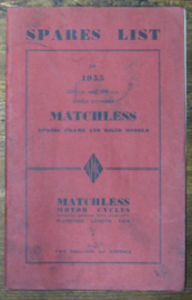 Matchless Spares List , single cilinder , 1955.