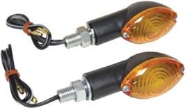 Set mini knipperlichten zwart met ovaal oranje lens