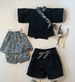 Complete Donker blauwe Kimono voor poppen van 35 tot 40 cm lang