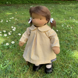 "Gingham Doll Dress, for 35cm/14"" to 39 cm/15"" tall dolls - Yellow"