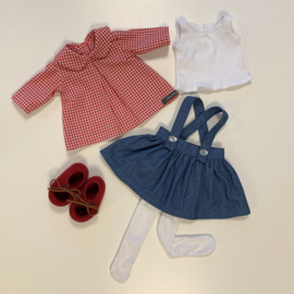 """Clothing set -  jeans skirt/red gingham - for 16""""/42 cm tall doll"""