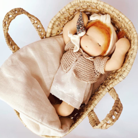 Petite Bébé - a 12''/30 cm tall  Waldorf Baby Doll in Mozes basket - Copper