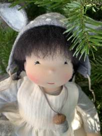 Deer Doll Grey - Black  hair - 14''/35 cm tall