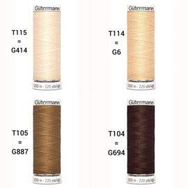 Gütermann - Sewing thread 200m. -  Doll jersey colours