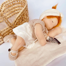 Petite Bébé - a 12''/30 cm tall  Waldorf Baby Doll in Mozes basket - Copper