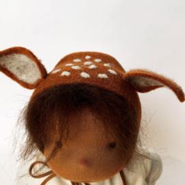 Deer Doll Cinnamon - Brown hair - a 14''/35 cm tall