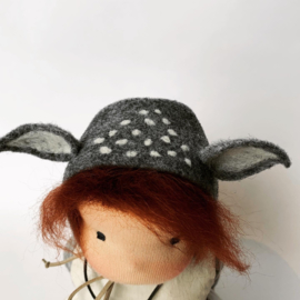 Deer Doll Grey - Red brown hair - a 14''/35 cm tall