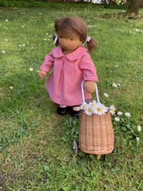 """Gingham Doll Dress, for 35 cm/14"""" to 42 cm/16"""" tall dolls - Red"""