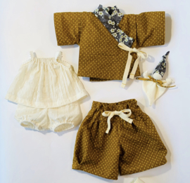Complete Ocre Kimono set for 14 to 15 inch tall dolls