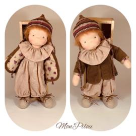 Dusty - a 16''/43 cm tall Handmade Waldorf Doll and mini Zen Snuggle