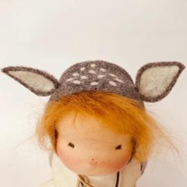Deer Doll Grey - Copper hair - a 14''/35 cm tall