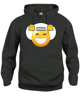 Hooded sweater uni - smiley grijns
