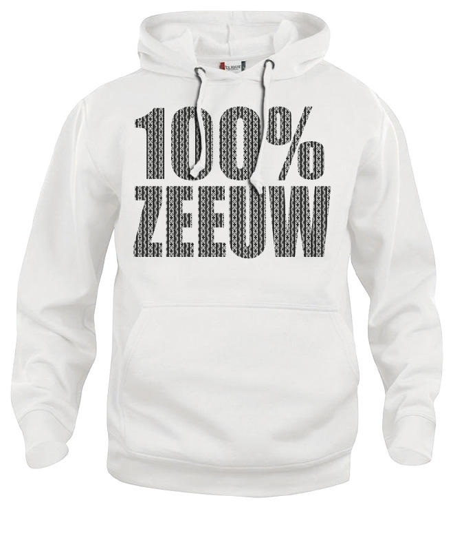Hooded sweater uni - 100% zeeuw schortebont