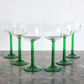 Vintage wijnglazen set 6 st.  - Groen