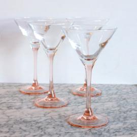 Vintage Martini glazen - Roze