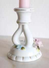 Vintage kandelaar - Porselein met bloemen