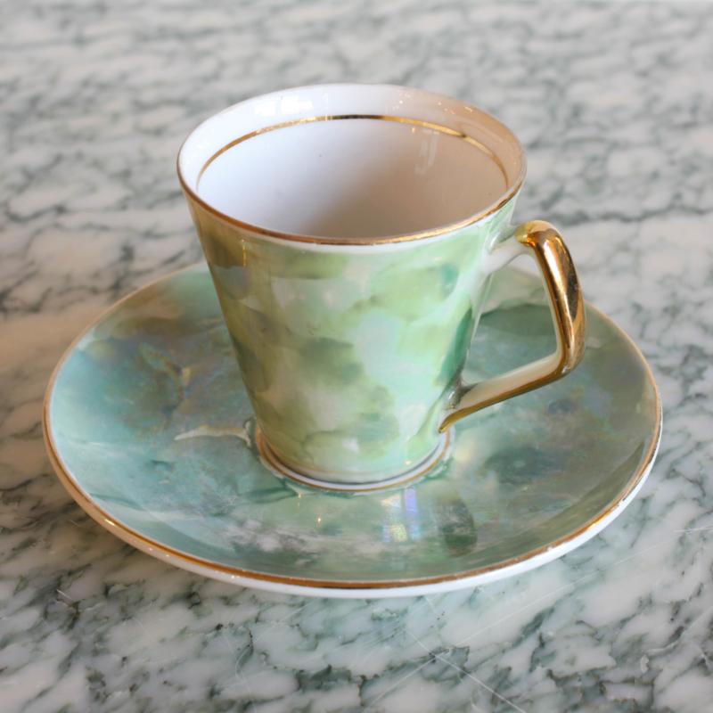 Vintage espresso kopje - Mintgroen goud