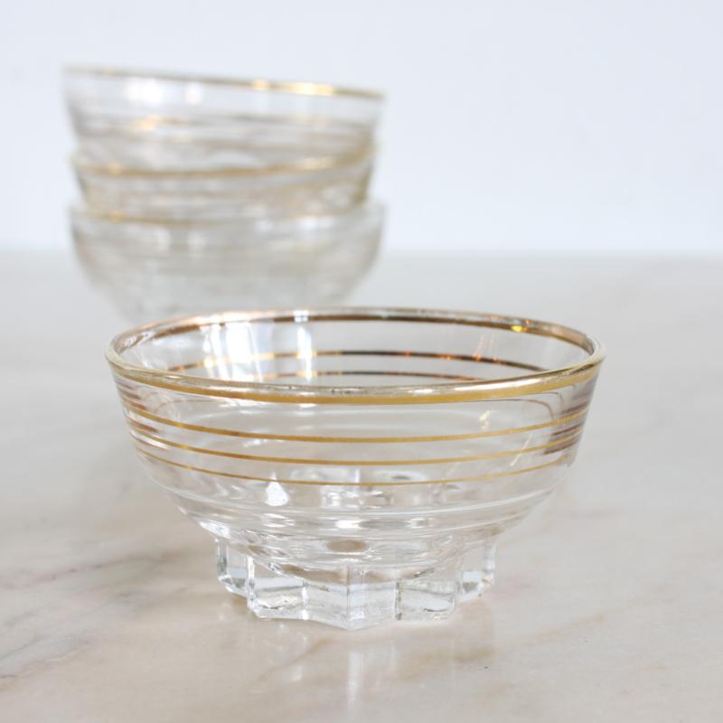 Vintage schaaltje glas - Wit goud