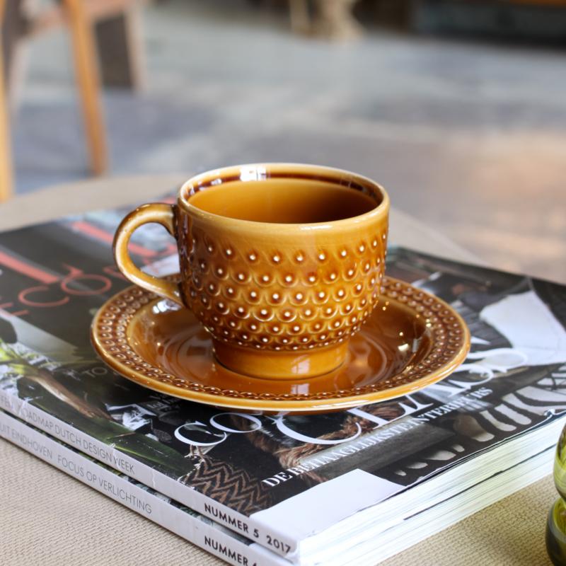 Vintage espresso kop + schotel - Okerbruin