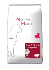 Dubbelpak! Natural Health Dog Lamb&Rice Large Bites 2x 12,5kg  Nu: inclusief 1x farmfood fresh menu!