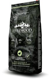 Riverwood Junior Large Breed, Free Run Eend & Kalkoen met Fazant 12 kg Nu inclusief: Profine Grain Free snack Lamb