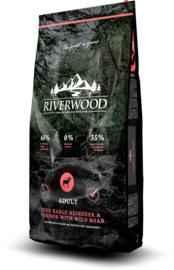 Riverwood Adult, Free Range Rendier & Hert met Everzwijn 12 kg Nu inclusief: Profine Grain Free snack Lamb