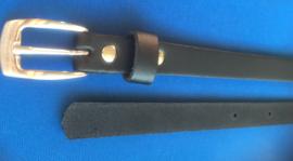 Leren dames riem 1,5 cm breed zwart 115 cm lang