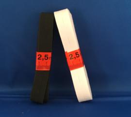 Knoopsgaten elastiek wit/zwart 2,5m