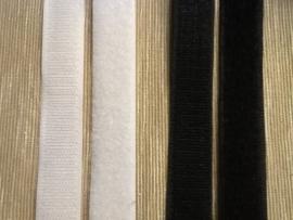 Klittenband plakbaar 2cm breed wit/zwart
