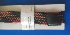 Elastische heren riem 3 cm breed zwart-bruin