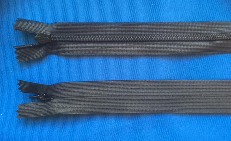 Blinde rits 60 cm zwart